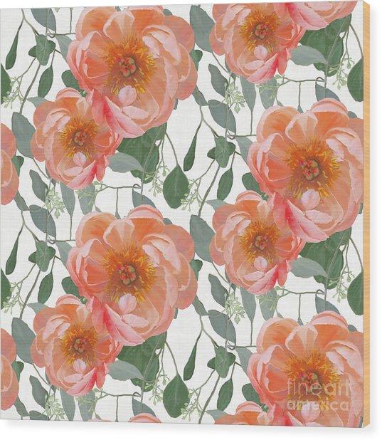 Bold Peony Seeded Eucalyptus Leaves Repeat Pattern Wood Print