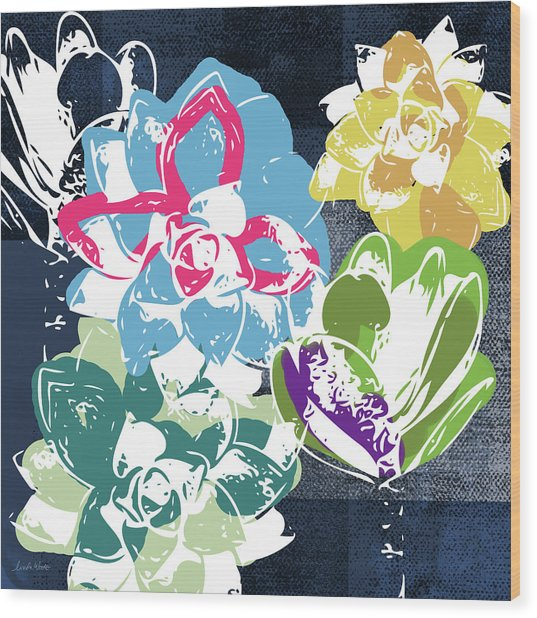 Bold Succulents 2- Art By Linda Woods Wood Print