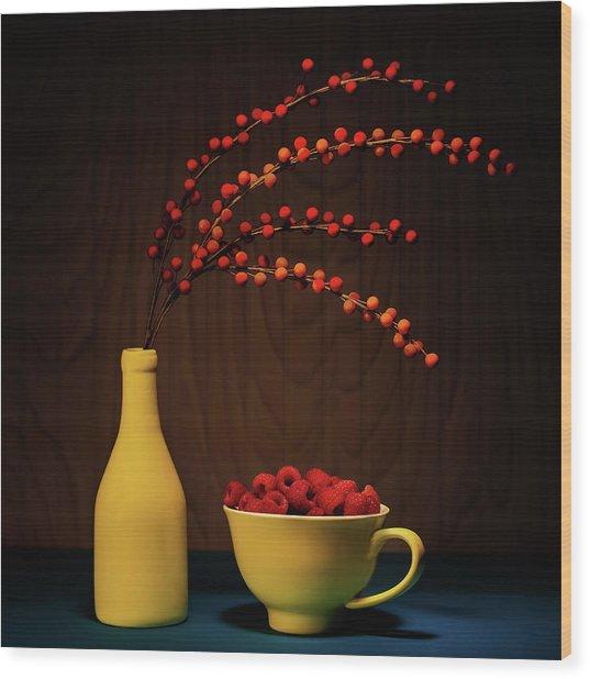Bold Yellow With Raspberries Wood Print