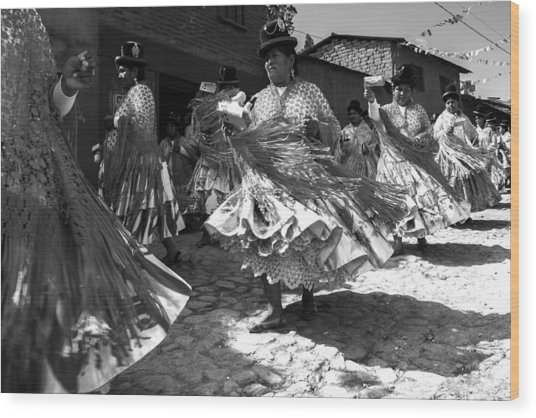 Bolivian Dance Black And White Wood Print