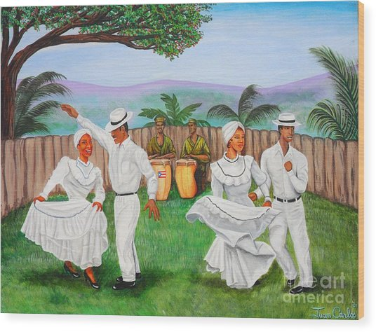 Bomba Dance Wood Print by Juan Gonzalez