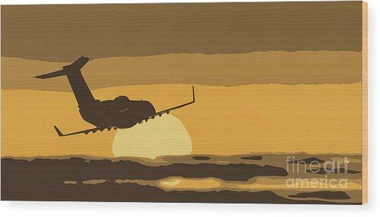Bombardier Crj-200er Flying Sunset Wood Print