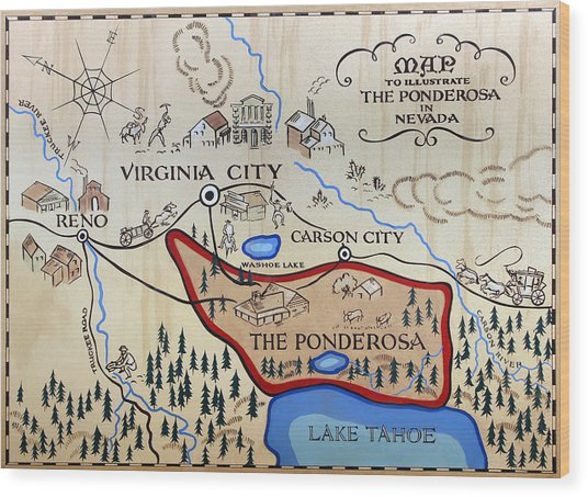Bonanza Series Ponderosa Map  1959 Wood Print