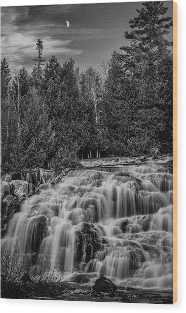 Bond Falls II Bw Wood Print