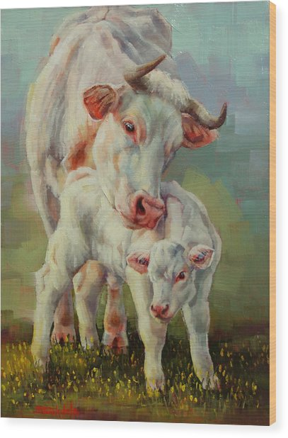 Bonded Cow And Calf Wood Print