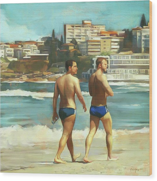 Bondi Beach Boys Wood Print