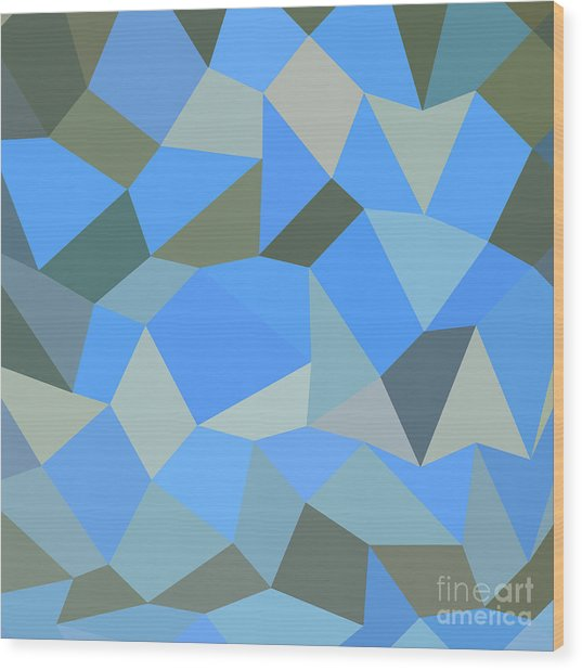 Bondi Blue Abstract Low Polygon Background Wood Print by Aloysius Patrimonio