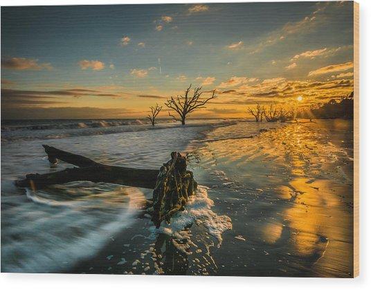 Boneyard Sunset Wood Print