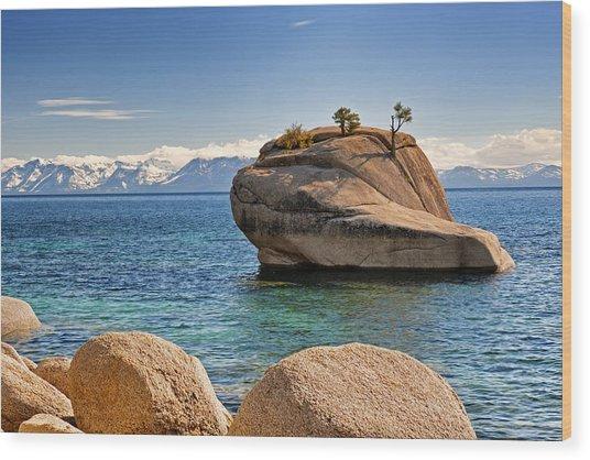 Bonsai Rock At Lake Tahoe Wood Print
