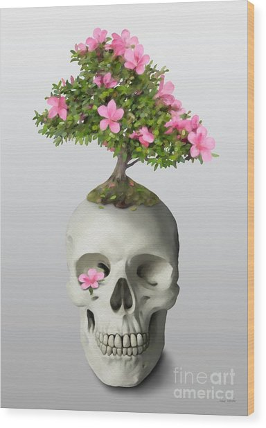 Bonsai Skull Wood Print