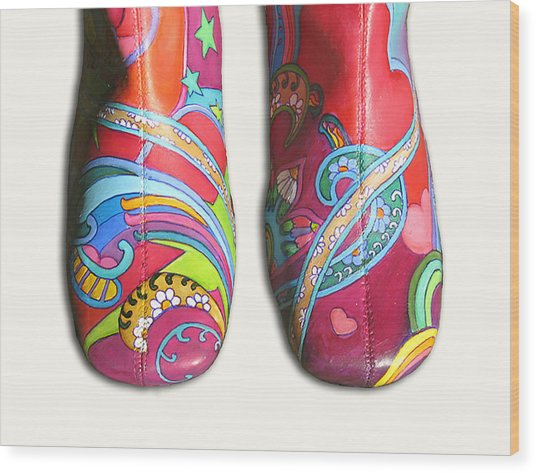 Boogie Shoes Wood Print by Mary Johnson