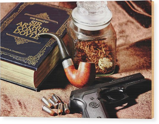 Books And Bullets Wood Print