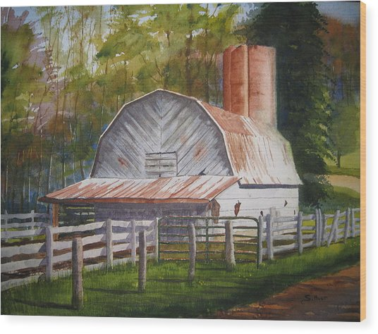 Boone Barn Wood Print by Shirley Braithwaite Hunt