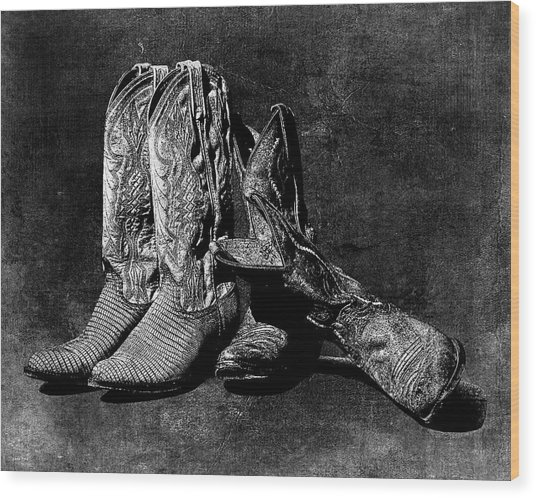 Boot Friends - Art Bw Wood Print