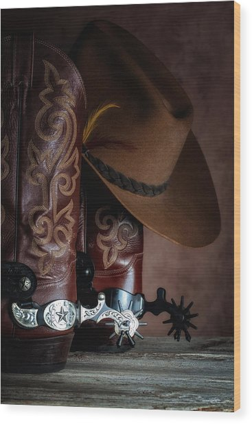 Boots And Spurs Wood Print