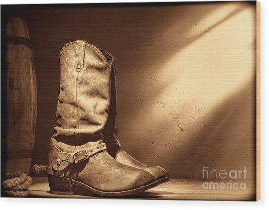 Boots At The Hacienda  Wood Print
