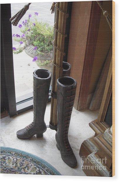 Boots Wood Print by Deborah Finley