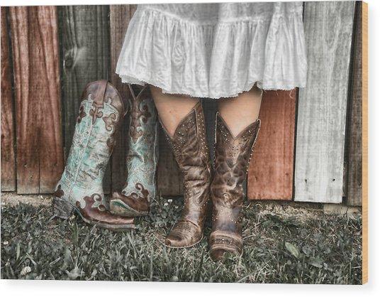 Boots X 2 Wood Print