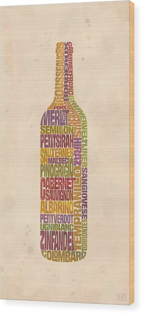 Bordeaux Wine Word Bottle Wood Print by Mitch Frey