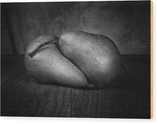 Bosc Pears In Black And White Wood Print