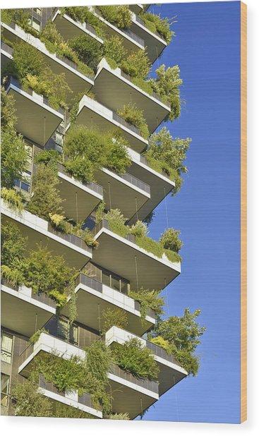 Bosco Verticale Green Facade Wood Print