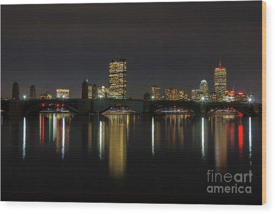 Boston Skyscrappers Behind Bridge Wood Print