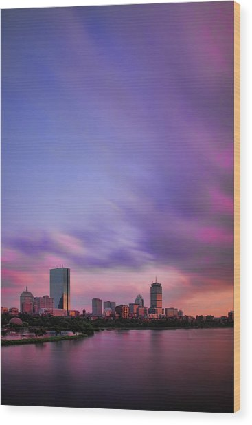 Boston Afterglow Wood Print
