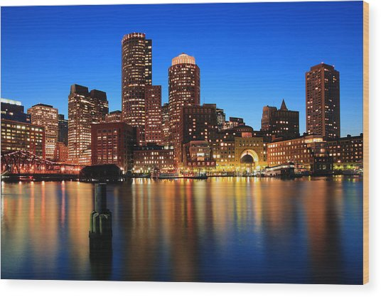 Boston Aglow Wood Print
