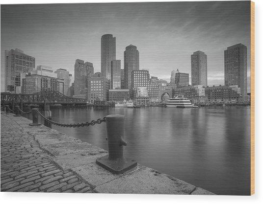 Boston Black And White Wood Print