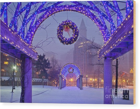 Boston Blue Christmas Wood Print
