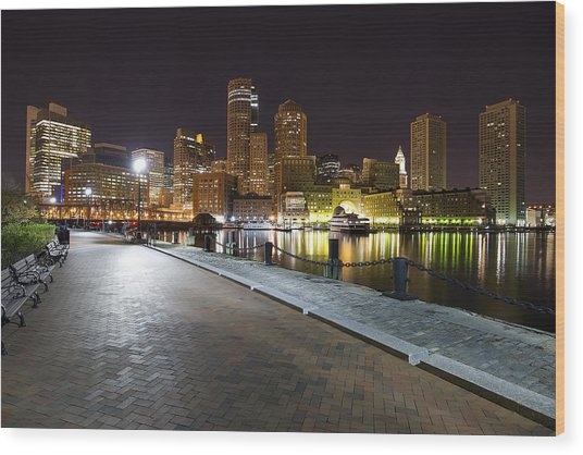 Boston Boardwalk Wood Print