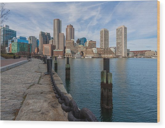 Boston Cityscape From The Seaport District 3 Wood Print