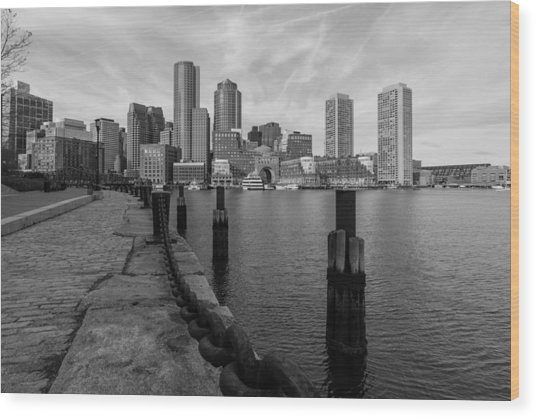 Boston Cityscape From The Seaport District In Black And White Wood Print