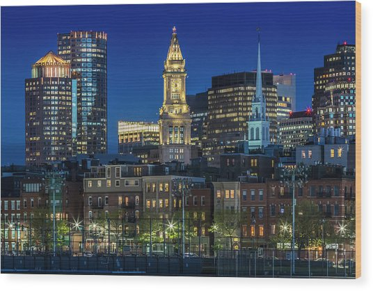 Boston Evening Skyline Of North End And Financial District Wood Print