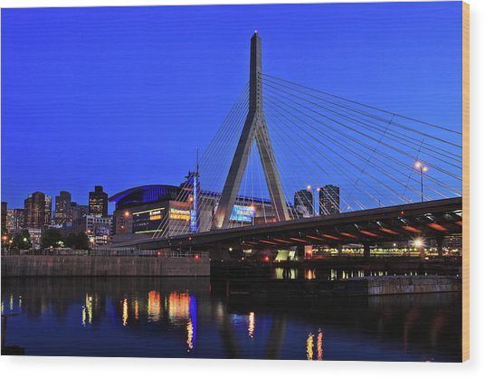 Boston Garden And Zakim Bridge Wood Print