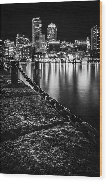 Boston Harbor At Night Wood Print
