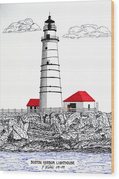 Boston Harbor Lighthouse Dwg Wood Print by Frederic Kohli