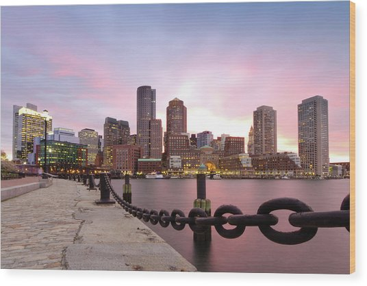 Boston Harbor Wood Print by Photo by Jim Boud