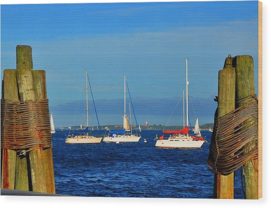 Boston Harbor Picture Perfect Wood Print by Andrew Dinh