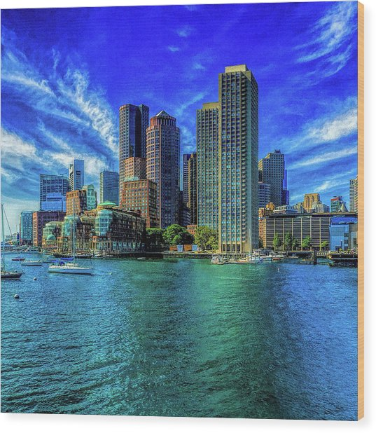 Boston Harbor Reflected Wood Print