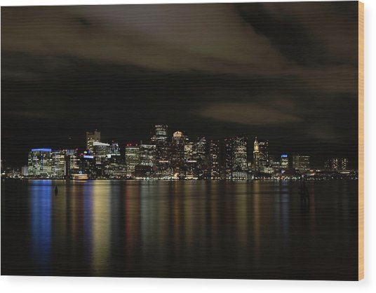 Boston Harbor Skyline Wood Print