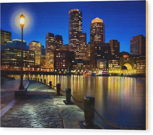 Boston Harbor Skyline Painting Of Boston Massachusetts Wood Print by James Charles