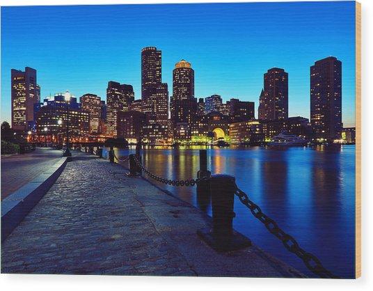 Boston Harbor Walk Wood Print