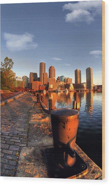 Boston Harborwalk Sunrise Wood Print by Joann Vitali