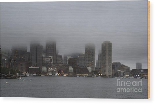 Boston In The Fog Wood Print