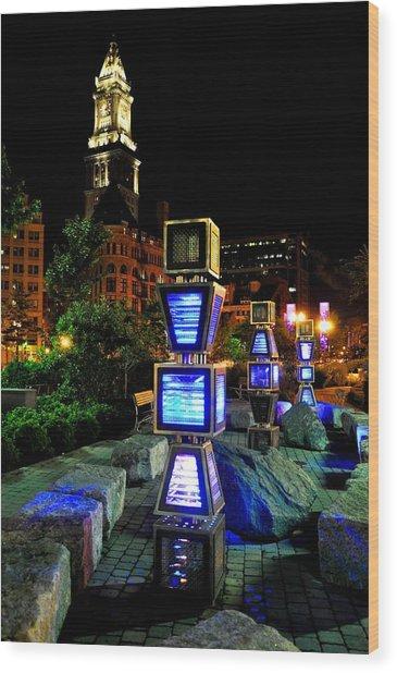 Boston Jetson Lights 1 Wood Print