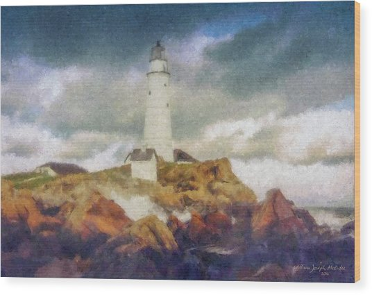 Boston Light On A Stormy Day Wood Print