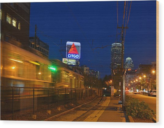 Boston Ma Green Line Train On The Move Wood Print