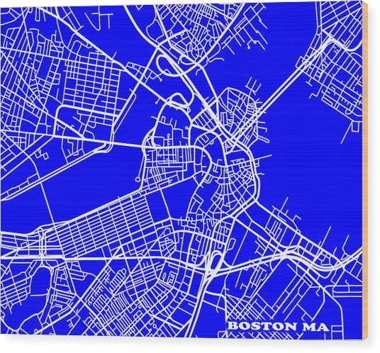 Boston Massachusetts City Map Streets Art Print   Wood Print