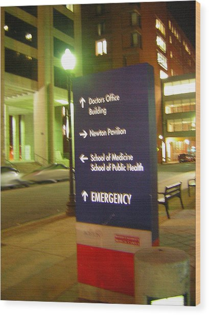 Boston Medical At Night Wood Print by Heather Weikel